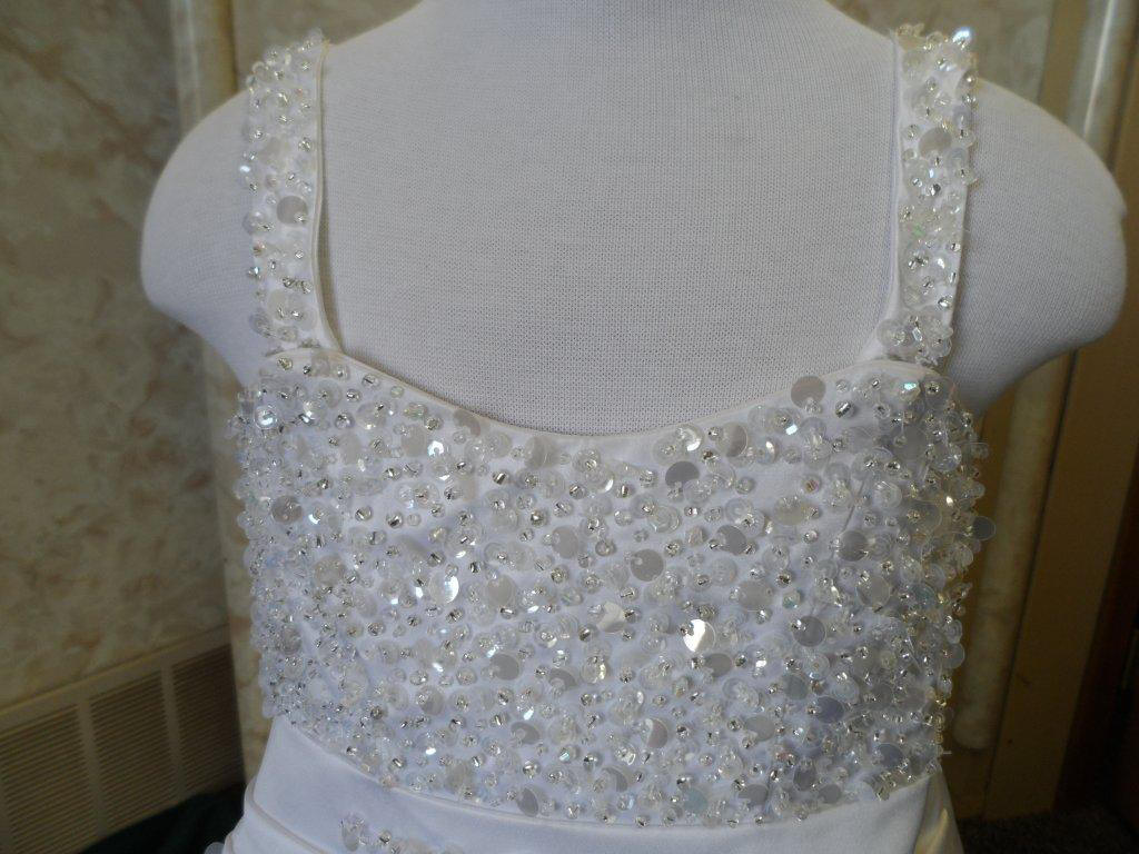 miniature bridal gown with beaded and sequin bodice