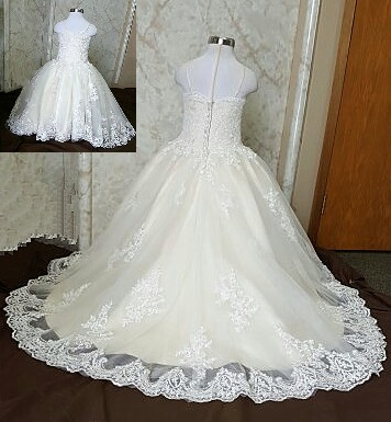 lace applique flower girl dress