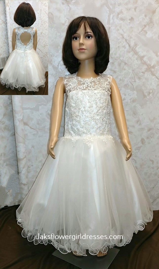 lace illusion open back flower girl dress