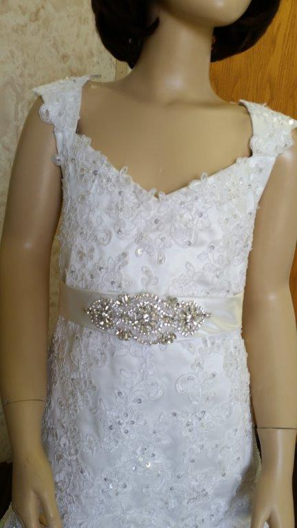 Jr bride dress with beaded waist sash