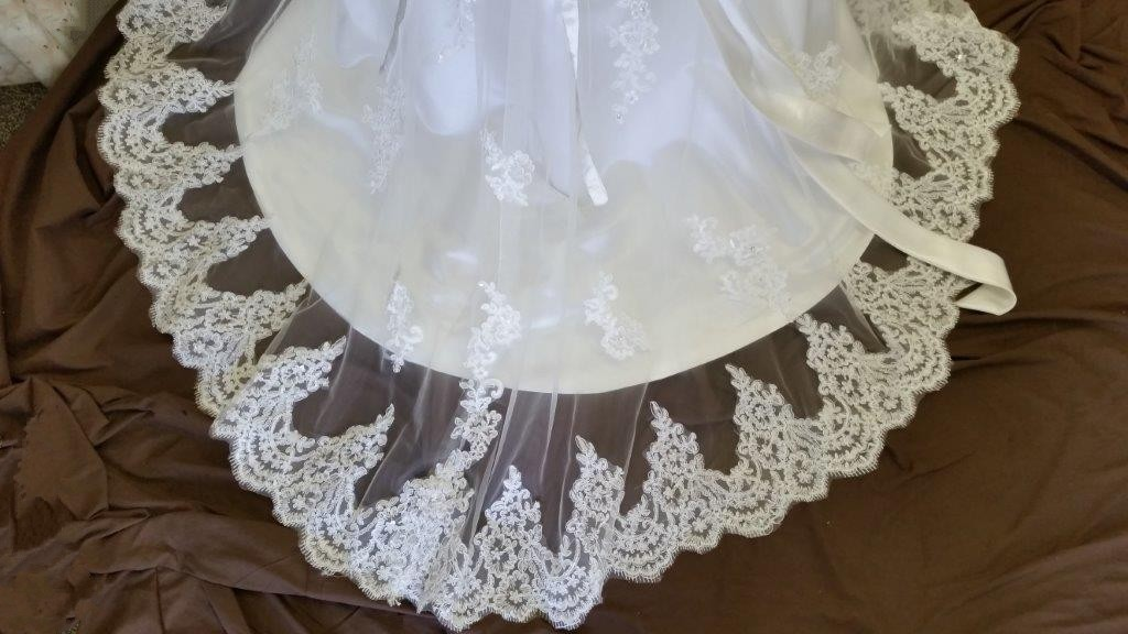 Jr bride dress with lace train