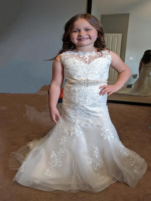 lace flower girl dress with beaded sash