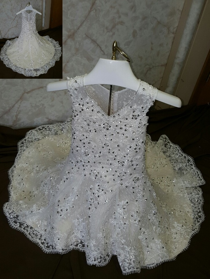 infant dotted tulle flower girl dress to match the brides