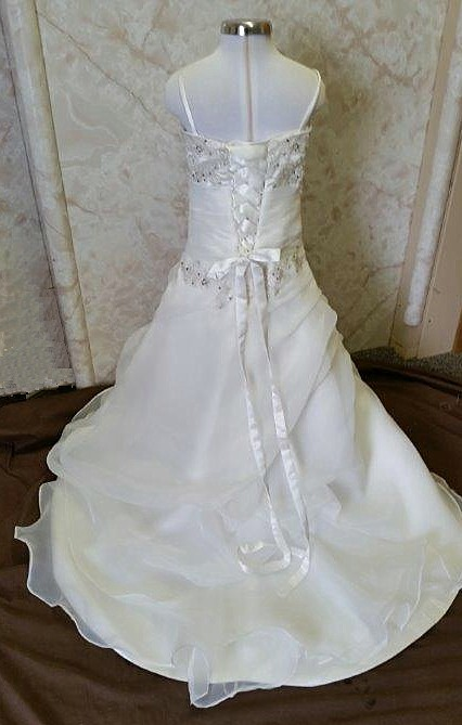 draped organza junior bride dress