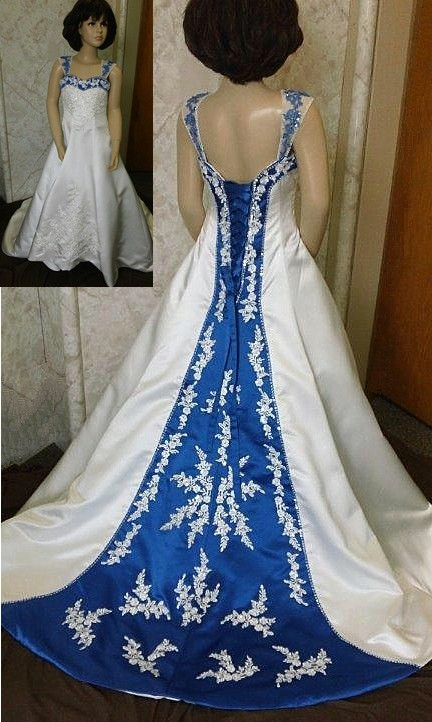 Ivory and royal blue flower girl dresses