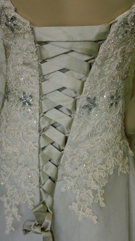 lace and crystal dress with corset back