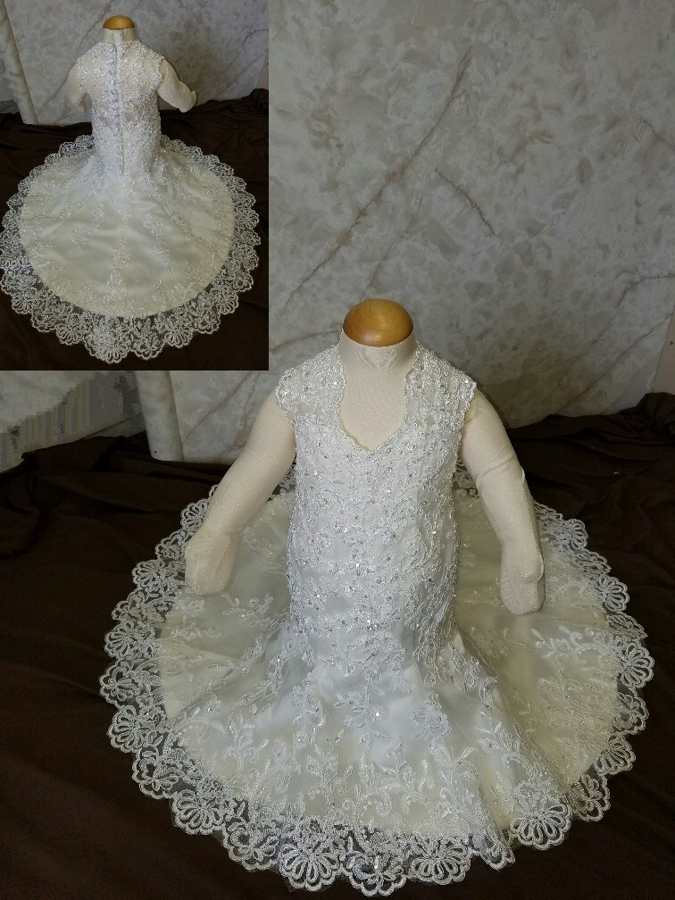 3-6 month size flower girl dress with train