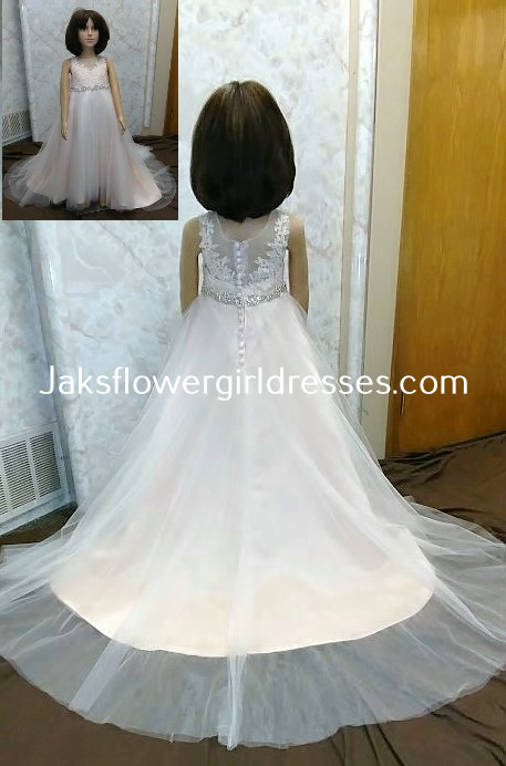 little flower girl dress with jeweled waistband