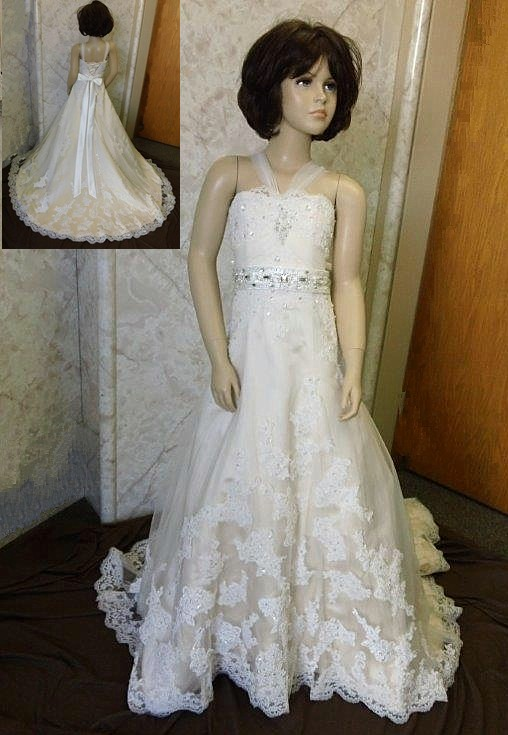 Flower girl jeweled wedding dress