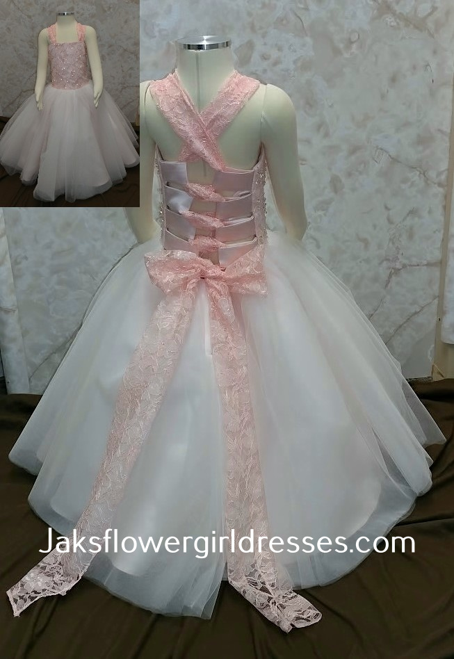 Lace Crisscross Back Flower Girl Dress