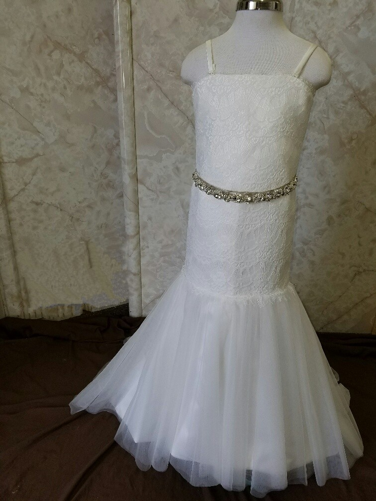 Fit and Flare Flower girl dress with beaded sash and train