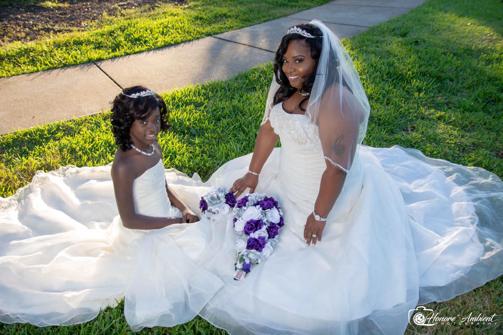 Matching flower girl and wedding dress