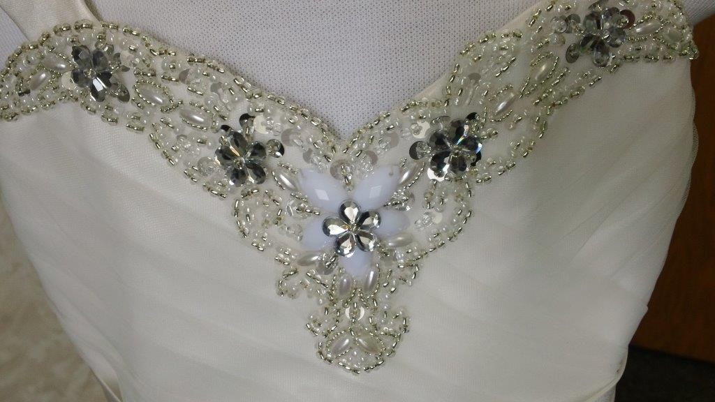 beaded sweetheart neckline
