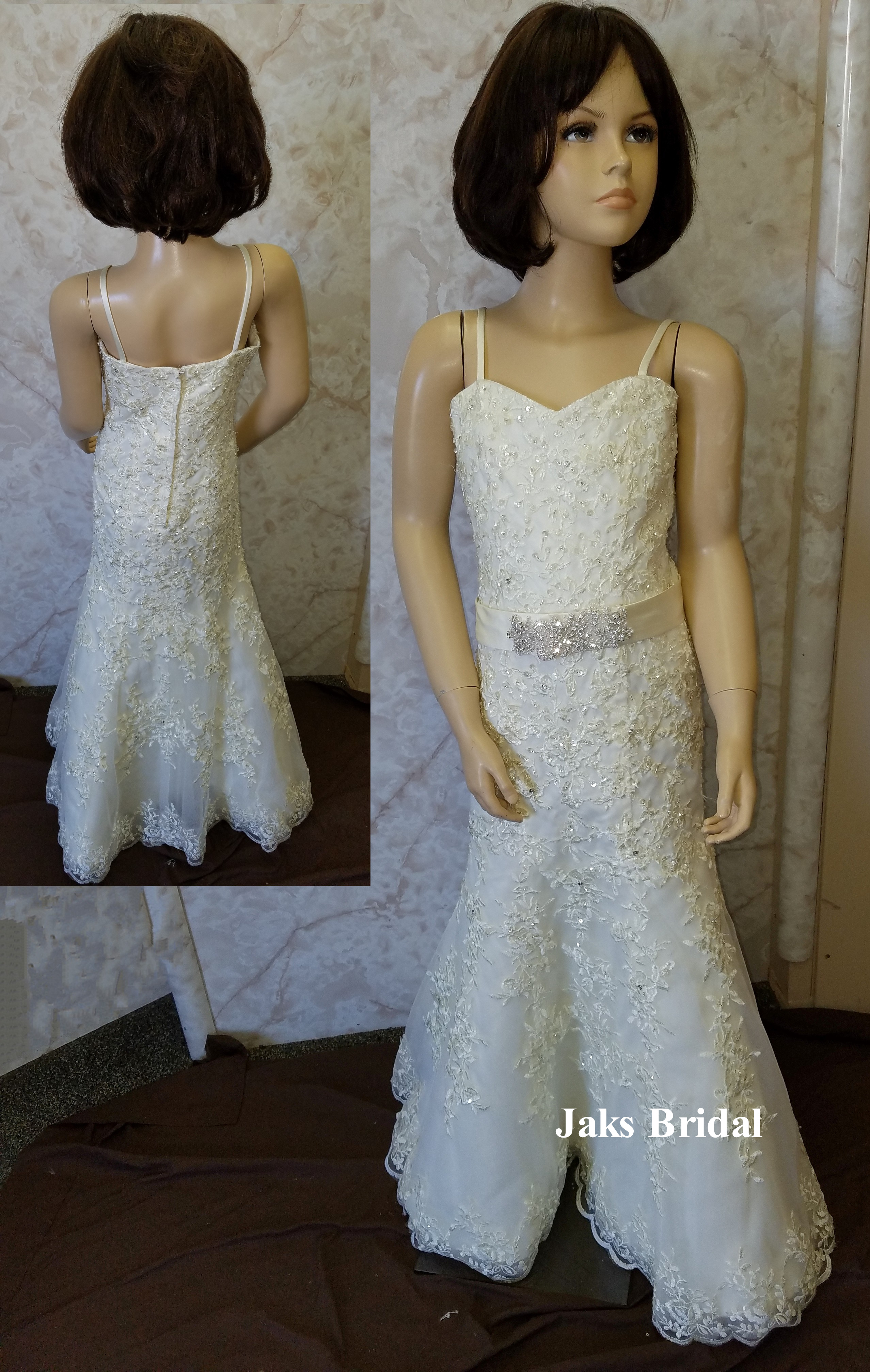 Ivory lace miniature wedding dress