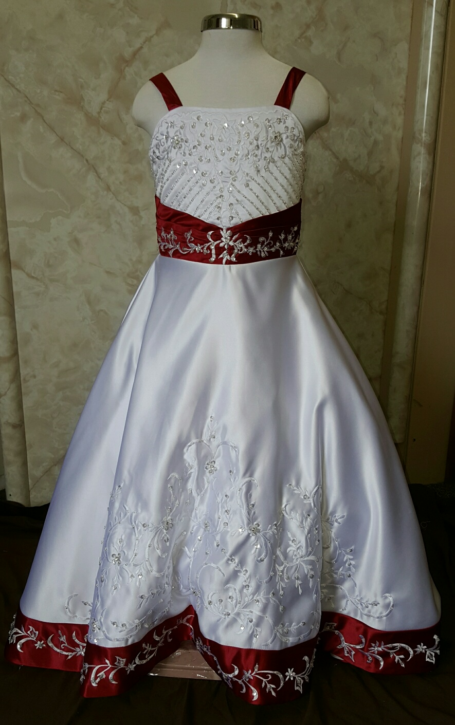 eed and white miniature wedding dress