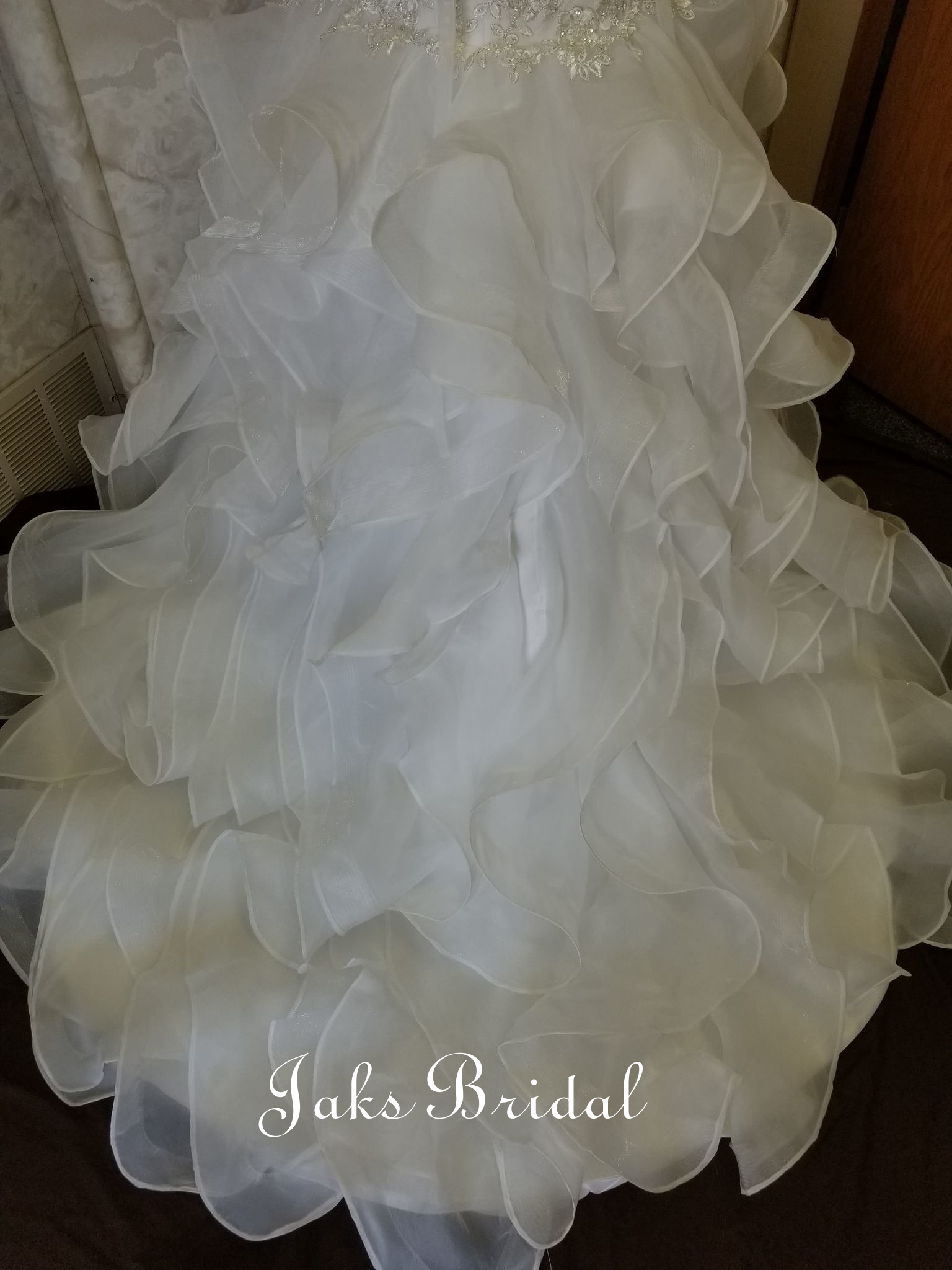 strapless trump dress with organza ruffle
