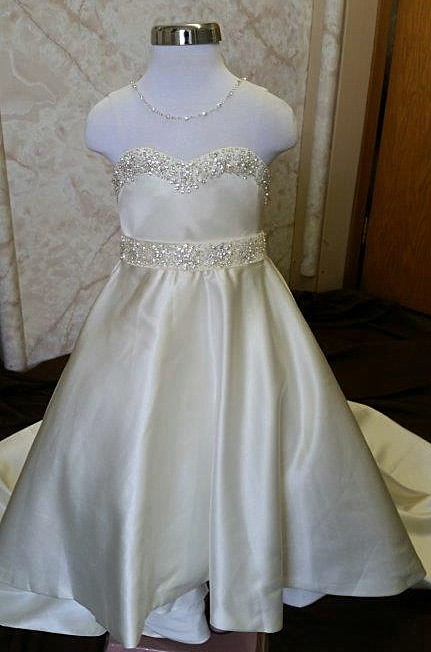 Beaded illusion flower girl dress