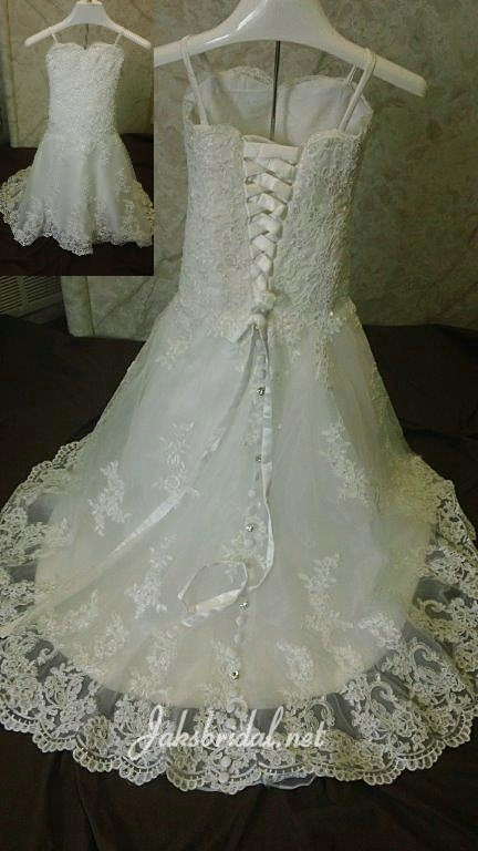 Lace toddler wedding dress with train