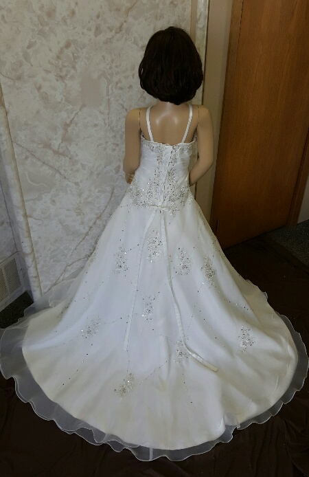 ivory and crystal flower girl dress