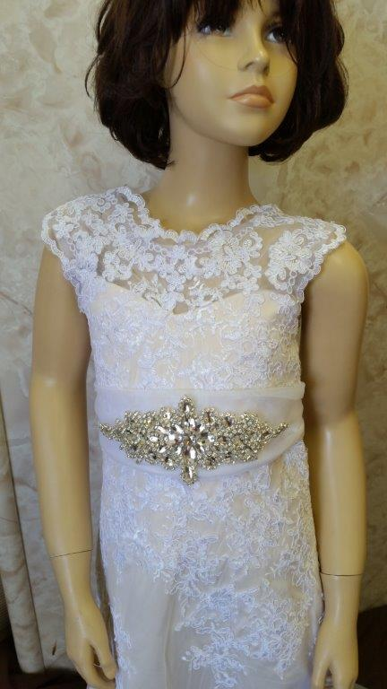 Light Champagne flower girl dress with crystal sash