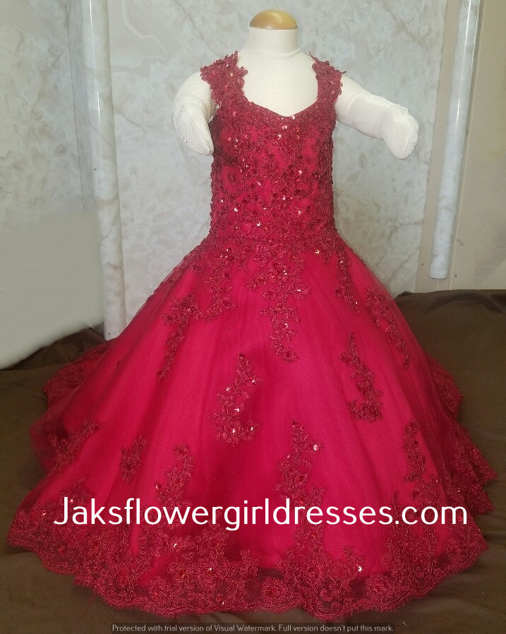 red flower girl dress with train