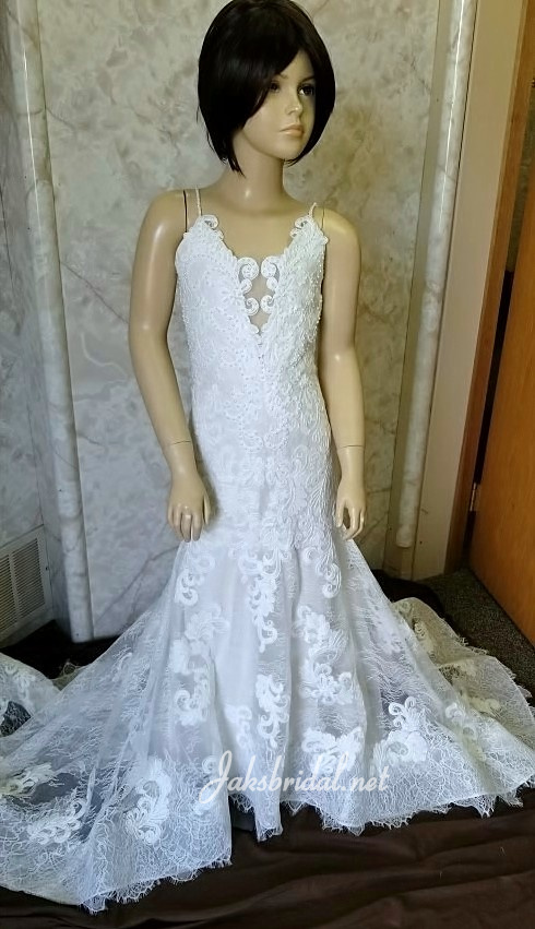Lace flower girl dress with gorgeous train