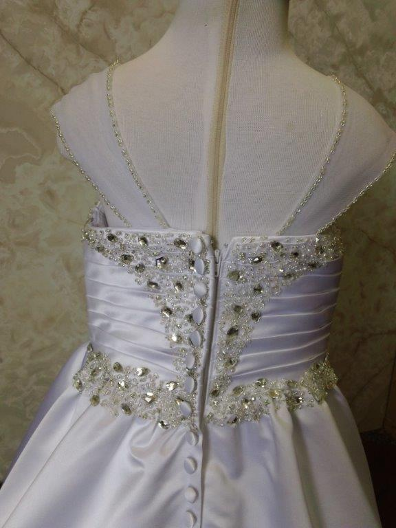 White with silver crystal flower girl dresses
