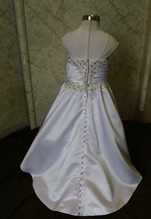 White and silver flower girl dresses with train