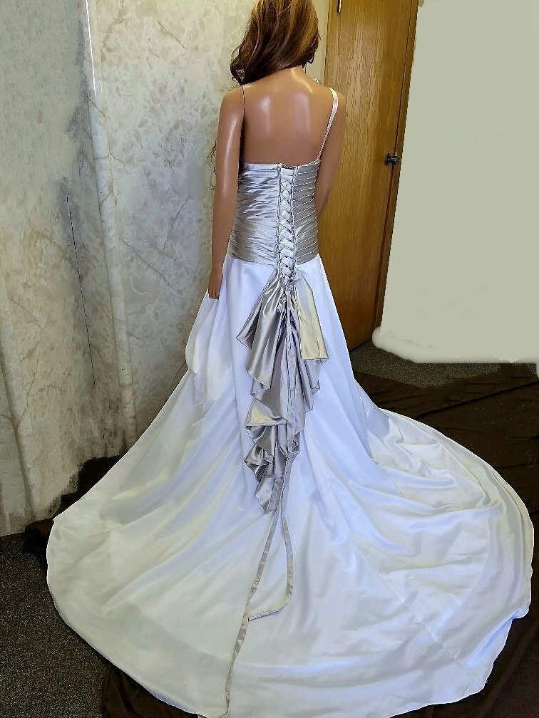 silver and white wedding dress