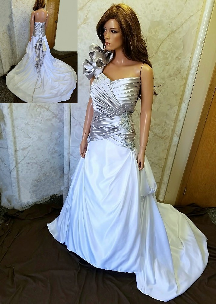 silver and white one shoulder bridal gown