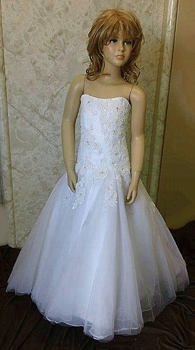 beaded lace wedding dress for flower girl