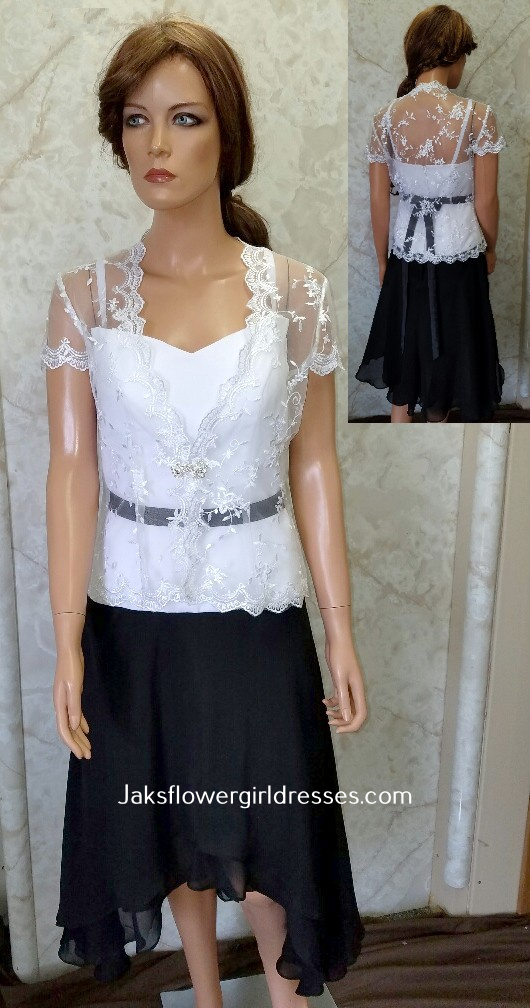 black and white dress with lace jacket