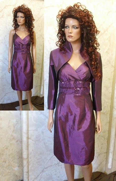 mother of the bride dresses purple knee length