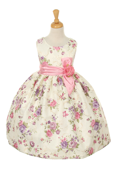 Pink Girls Flowered Easter dress