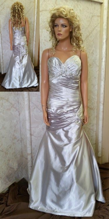 silver fit and flare bridesmaid dress