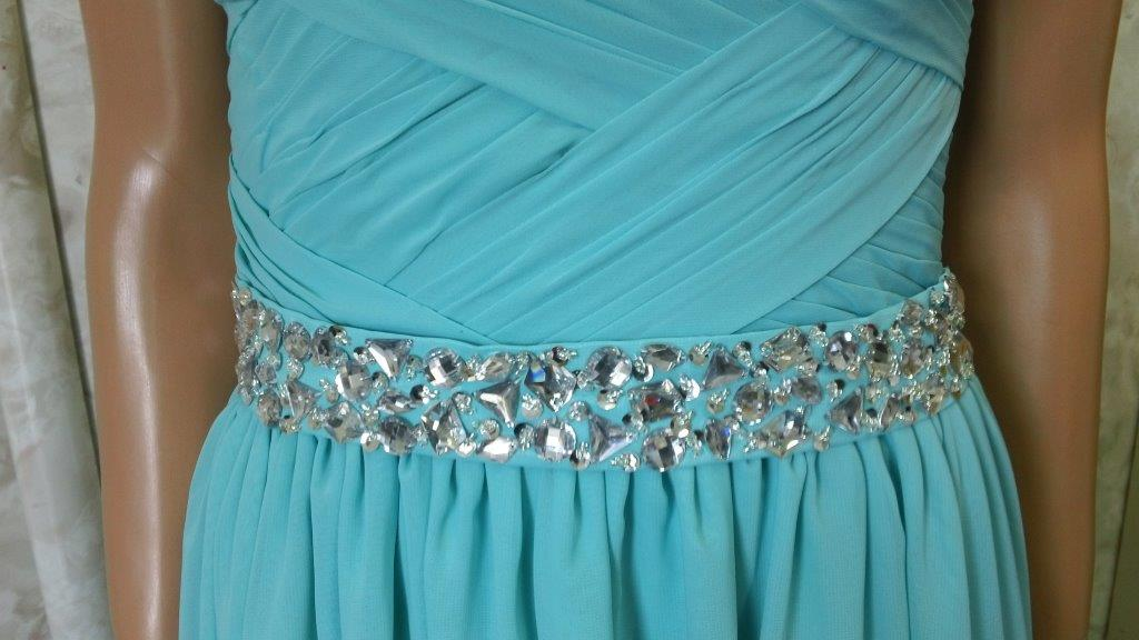 woven bodice with jewel waistband
