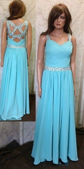 Chiffon open back prom dress with beaded straps