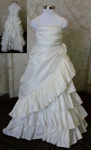 Multi layer ruffle flower girl gown