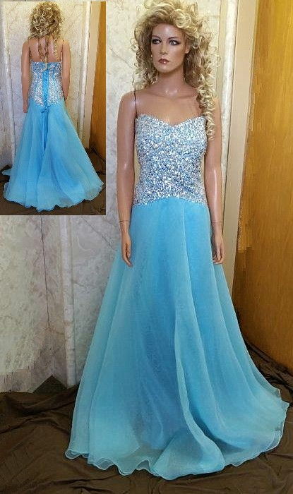 pool blue beaded prom dress