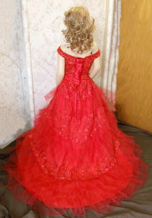 red southern bell pageant gown