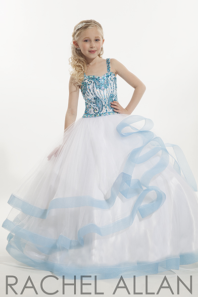 blue and white pageant dress
