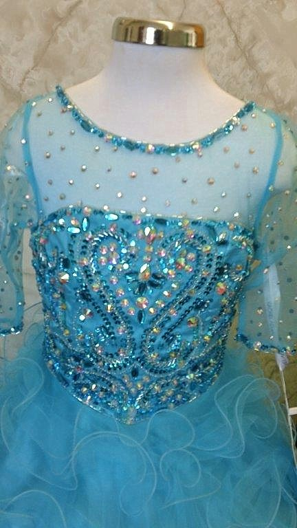 turquoise girls pageant dress