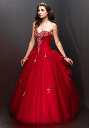 red prom dresses strapless ball gown