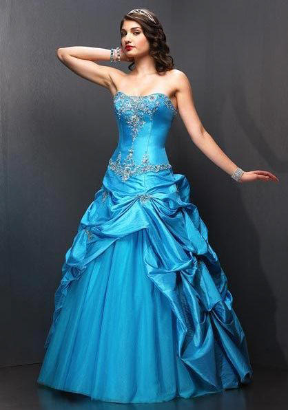 Sky Blue Discount Ballroom Gowns