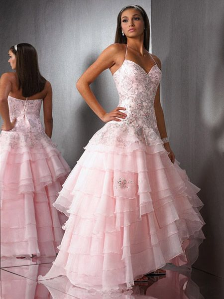 pink spaghetti strap prom dress
