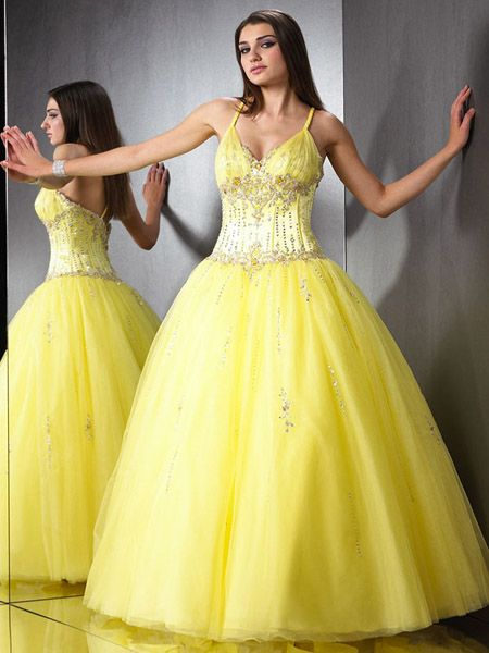 yellow spaghetti strap prom dress
