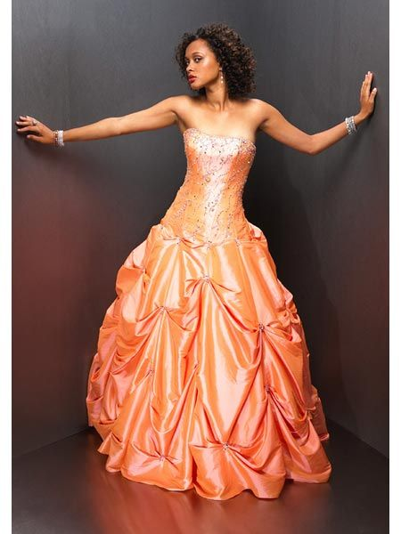 orange pageant pickup gown