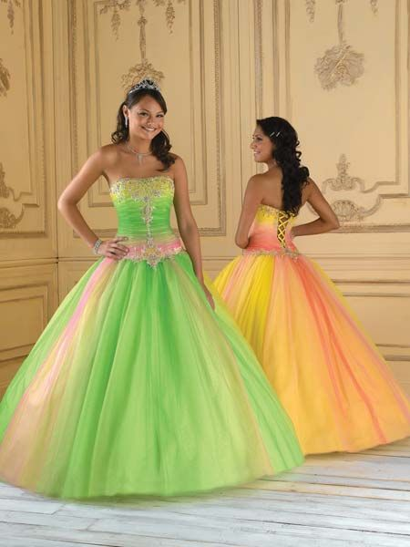 bright pageant dress