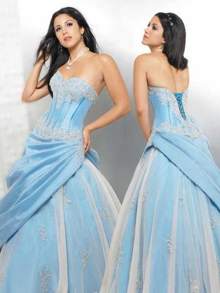 blue strapless prom dresses