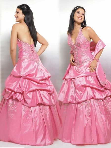 pink taffeta halter pickup dress